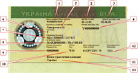Example of Ukrainian visa
