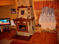 Marzipan. Living room with fireplace
